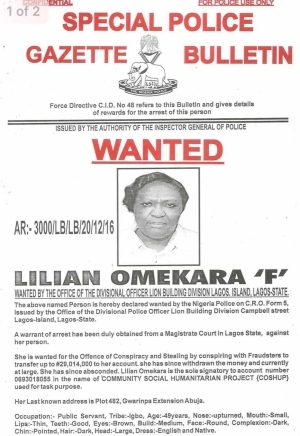 Nigeria Police declares Woman, Man wanted for stealing over N100million
